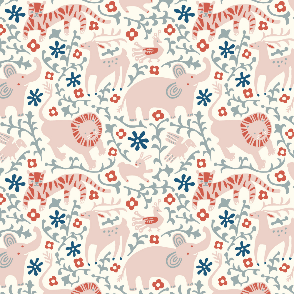 Organic fabric hidden flower field cream interlock knit