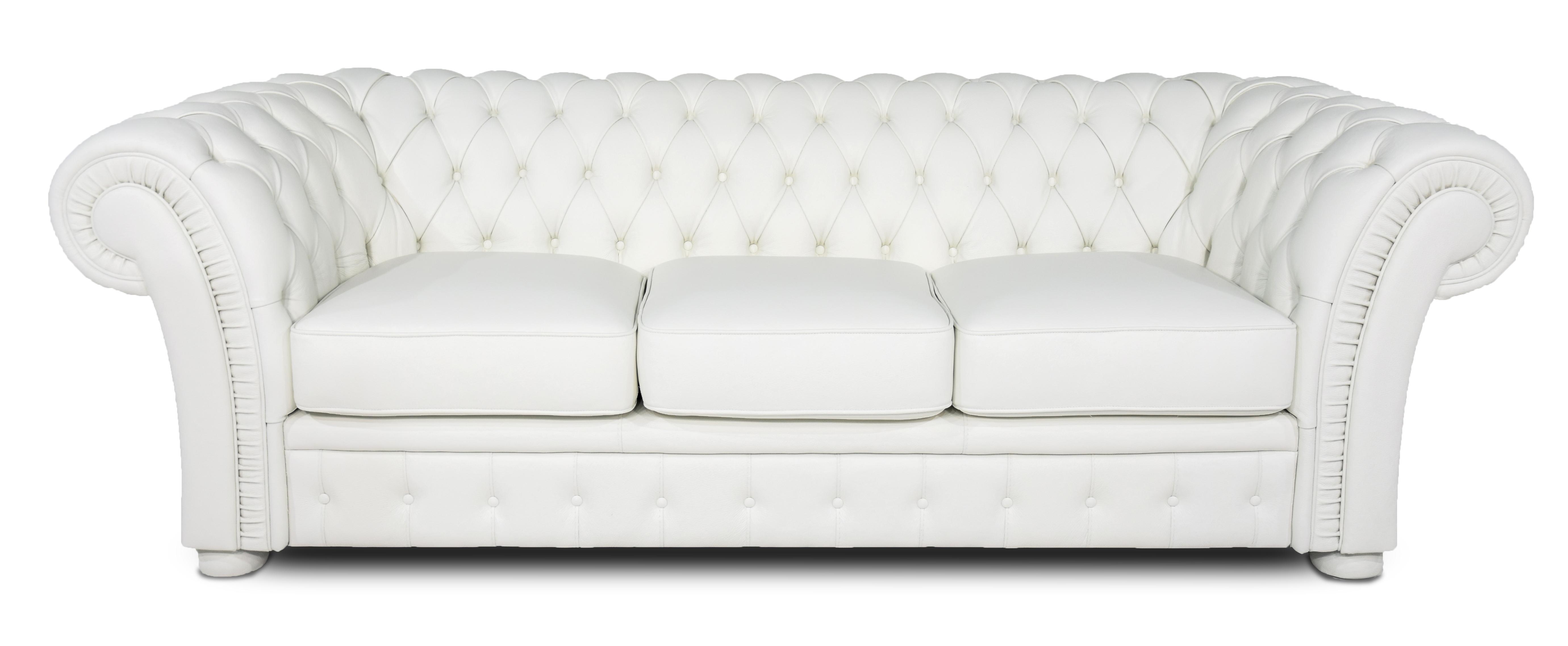 DANE Divano chesterfield bianco in pelle modello impero a 3 posti con base e piedini in legno tappezzati in pelle