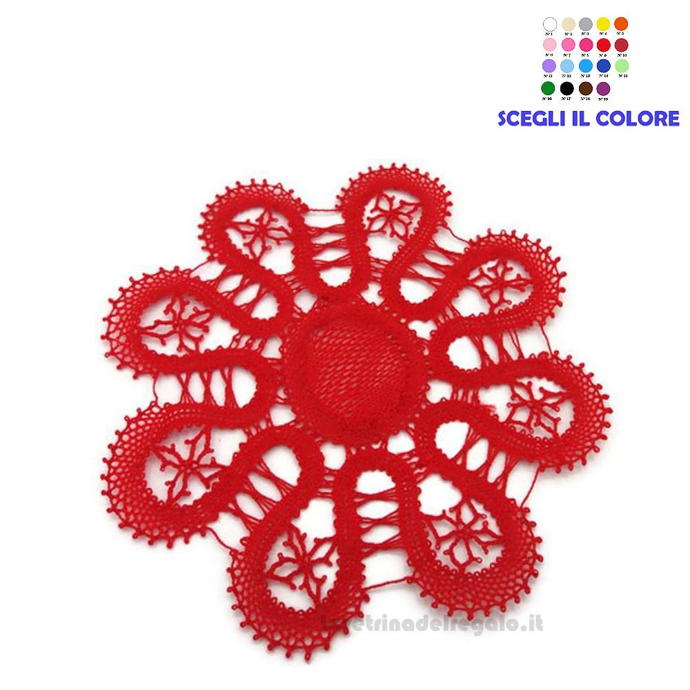Sottobicchiere Rosso realizzato con il Tombolo 12 cm - Handmade in Italy