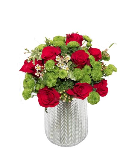 Bouquet rose rosse e santini € 50,00