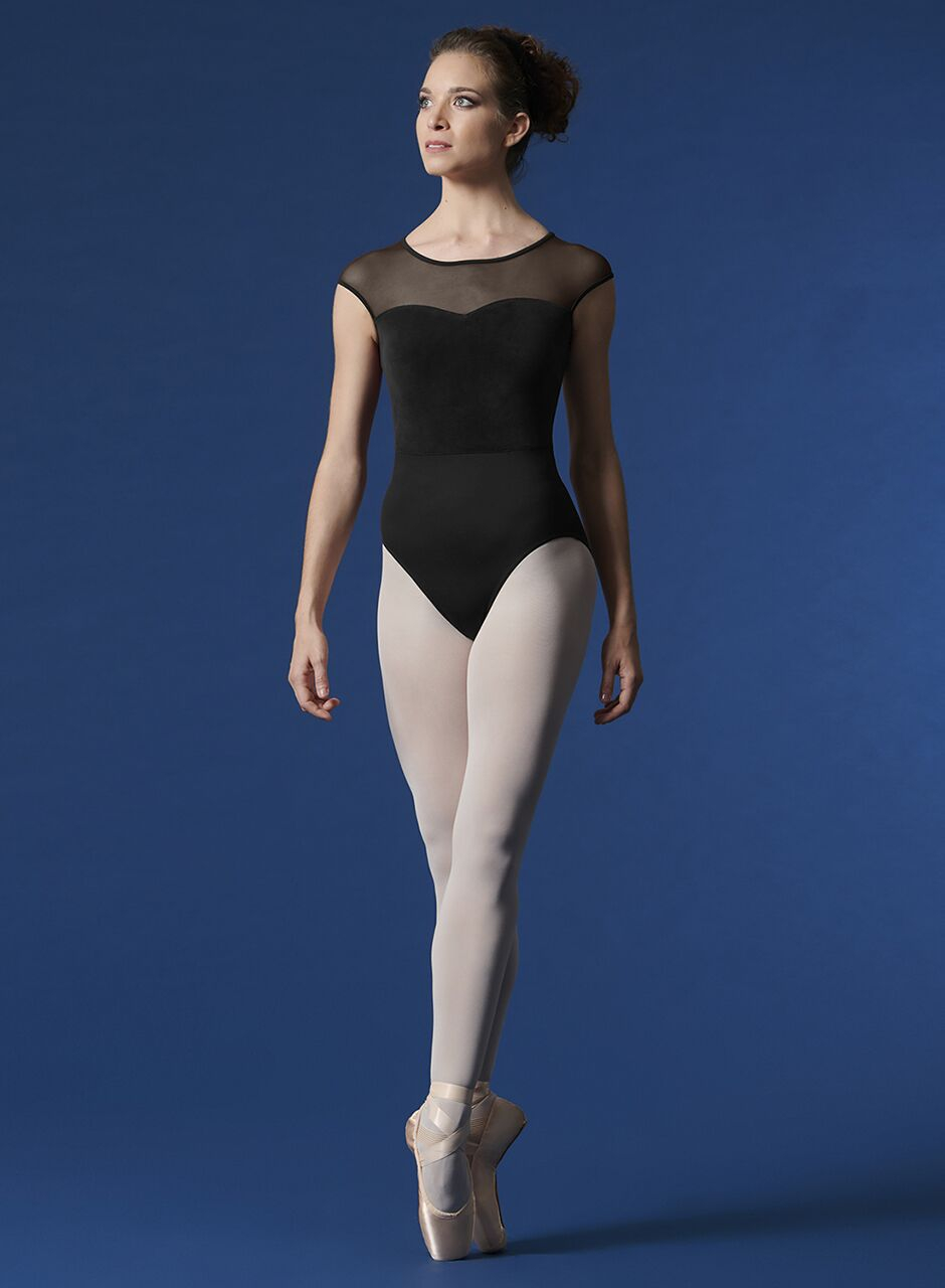 Body con manichine corte  collezione Mirella supplex-velluto con retina davanti e dietro