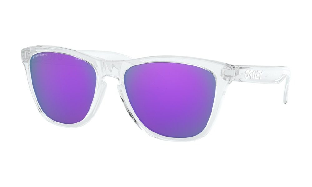 Oakley - Occhiale da Sole Uomo, Frogskins™, Polished Clear/Violet Prizm  OO9013-H755  C55