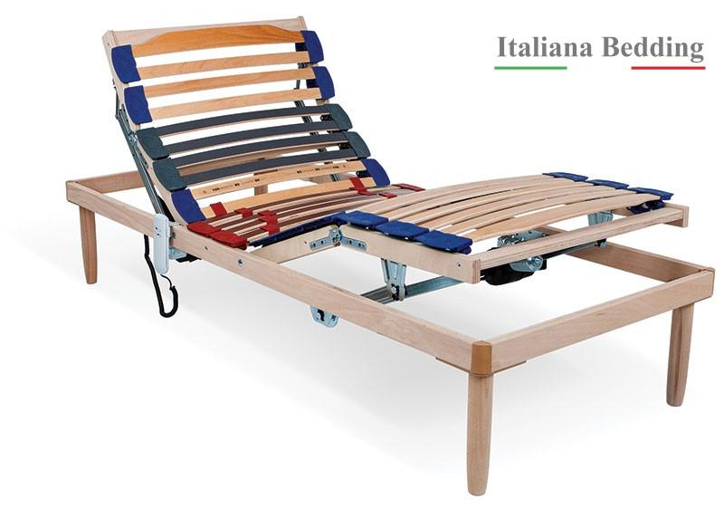 RETE RELAX - Rete letto singola elettrica doppio motore alza piedi e testa con doghe in legno di faggio