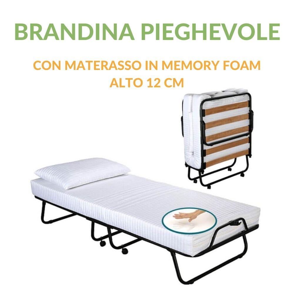 Materasso Per Brandina Pieghevole.Brandina Pieghevole Con Materasso Memory Foam 80x190 Alto 12 Cm