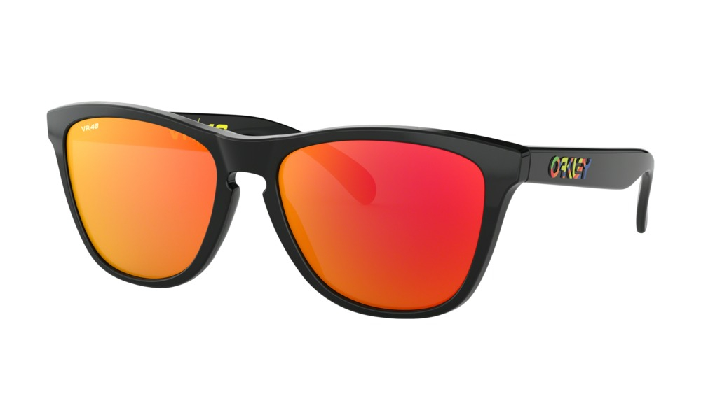 Oakley - Occhiale da Sole Uomo, Frogskins™ Valentino Rossi Signature Series, Polished Black/Red Prizm  OO9013-E655  C55