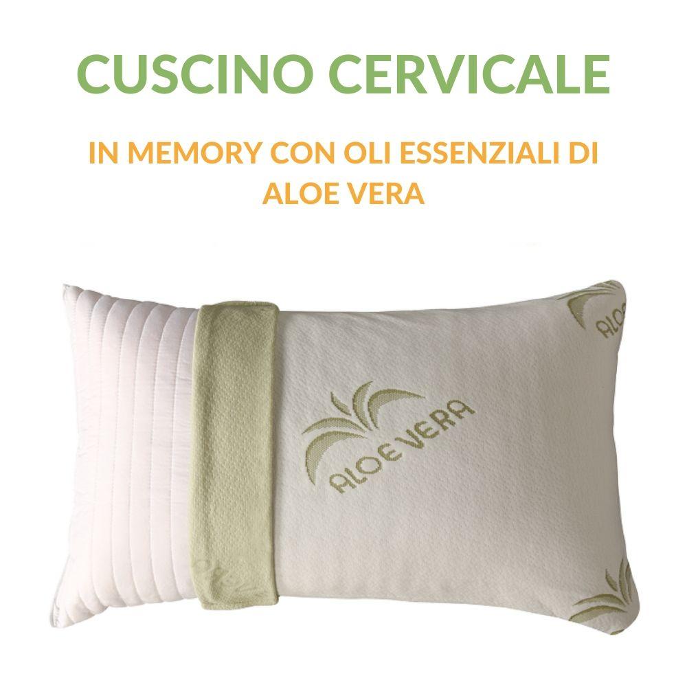 Cuscino Lattice Modello Saponetta.Cuscini 40x70 Alti 15 Cm In Memory Foam Per Cervicale Aloe Vera