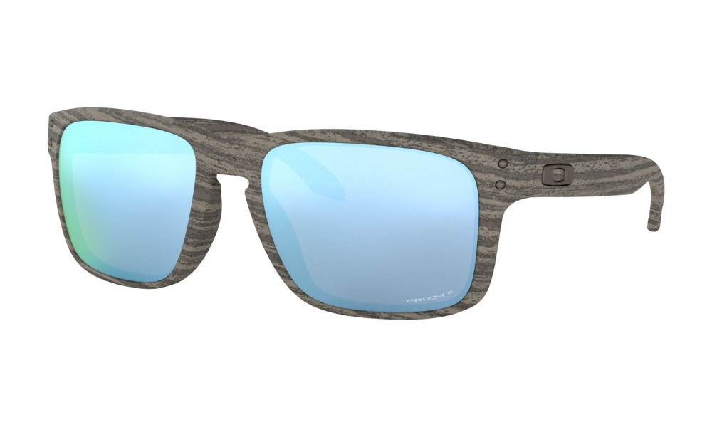 Oakley - Occhiale da Sole Uomo, Holbrook™ Woodgrain Collection, Brown Wood/Blue Prizm Polarized  OO9102-J955  C55