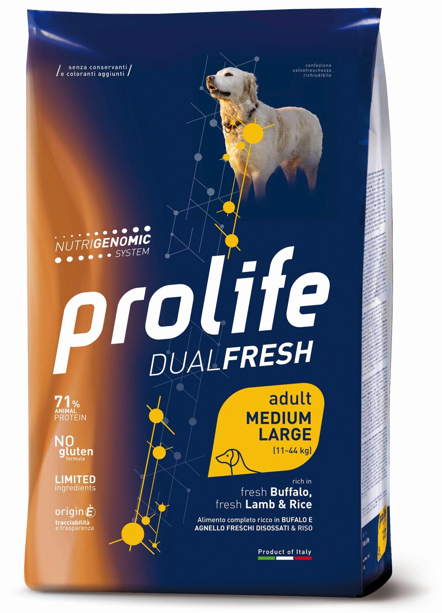 PROLIFE ADULT DUAL FRESH MEDIUM- LARGE BUFALO, AGNELLO E RISO 2,5 KG.