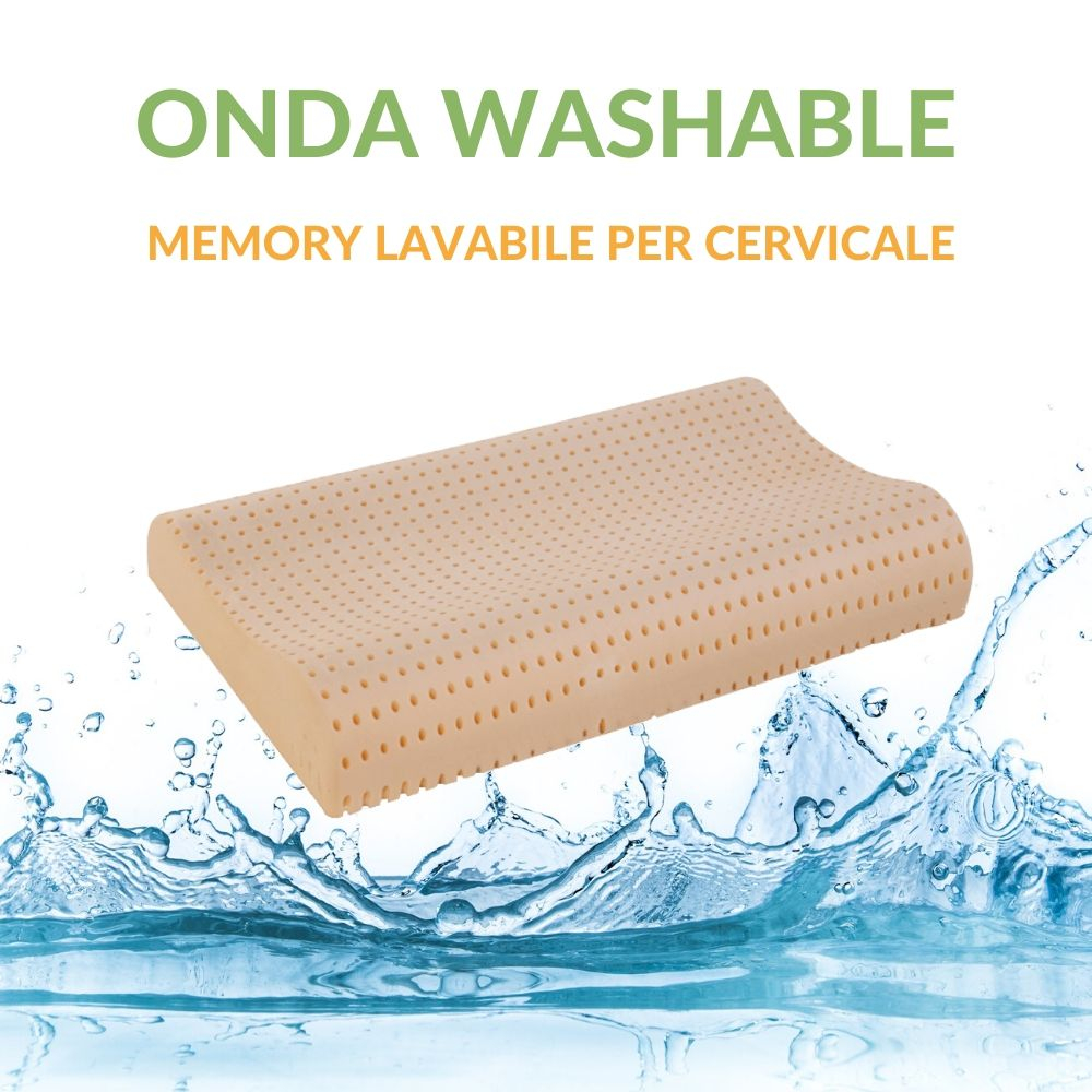 Cuscino Memory Washable per Cervicale Lavabile in Lavatrice, Ergonomico a Doppia Onda