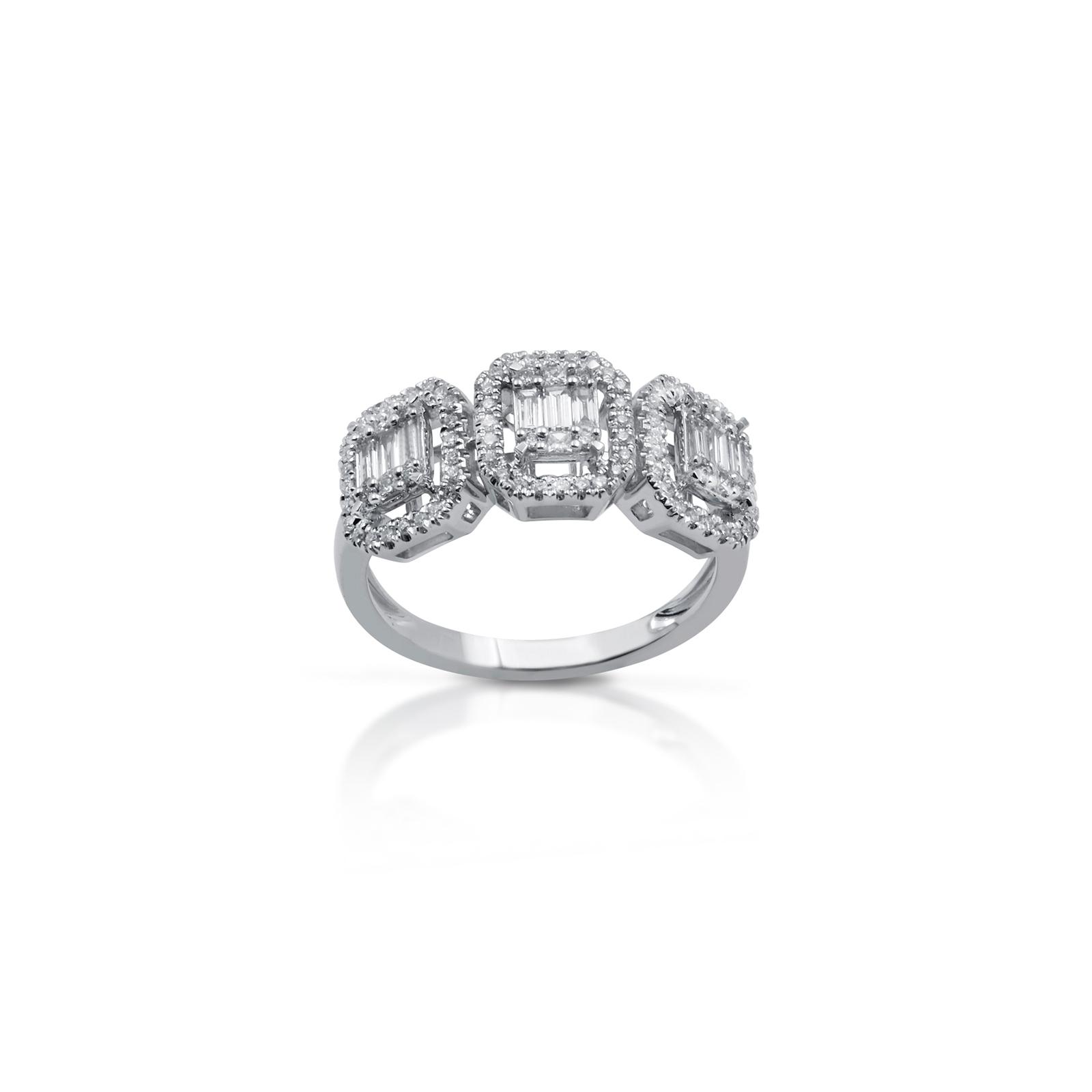 Anello in Oro Bianco e Diamanti taglio Brillante/Baguette Gianni carità