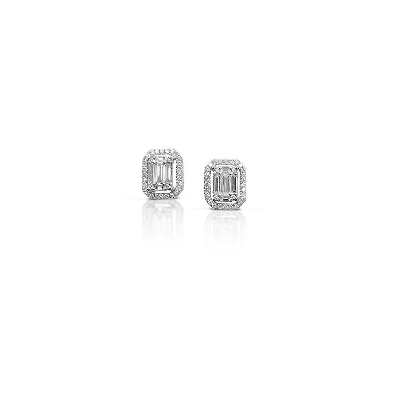 Orecchini in Oro Bianco e Diamanti taglio Brillante/Baguette - Gianni Carità