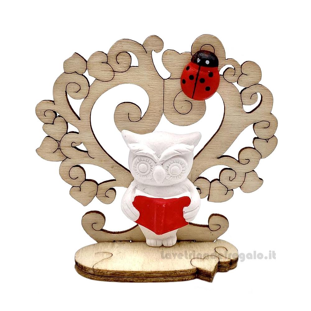 Albero della Vita con Gufo in gesso 7 cm H - Bomboniera laurea