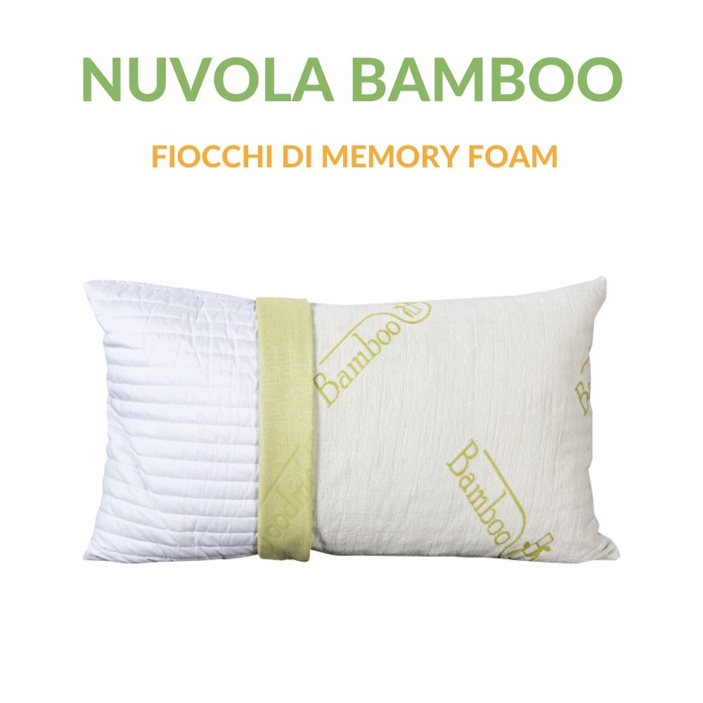 Cuscino Lattice Modello Saponetta.Cuscino Fiocco Di Memory Foam Fodera Fibra Di Bamboo 42x72 Alto 15 Cm