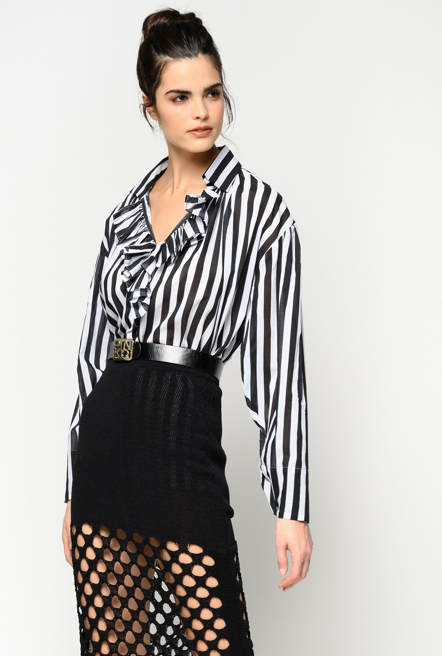 SHOPPING ON LINE PINKO BLUSA A RIGHE CON CINTURA DONUTS NEW COLLECTION WOMEN'S SPRING SUMMER 2020