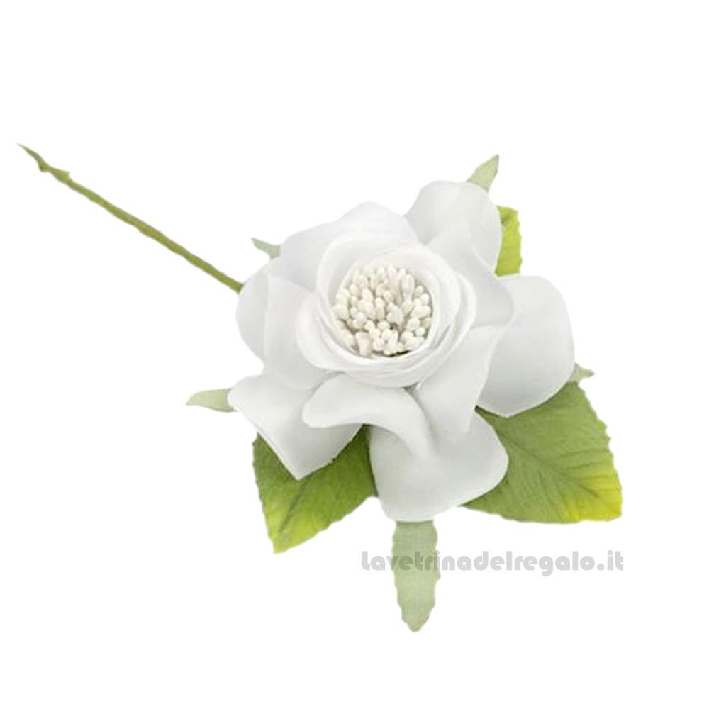 Fiore artificiale Camelia Bianca ø 5 cm - Decorazioni bomboniere