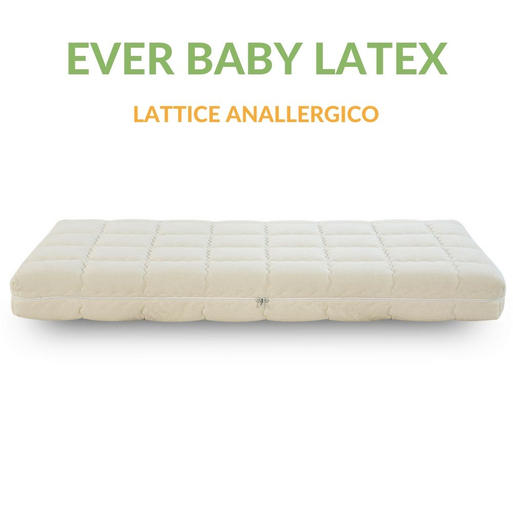 Materasso Lettino o Culla in LATTICE per Bambini alto 12 cm Fodera in COTONE, Rivestimento Sfoderabile Anallergico Lavabile EVER BABY LATEX