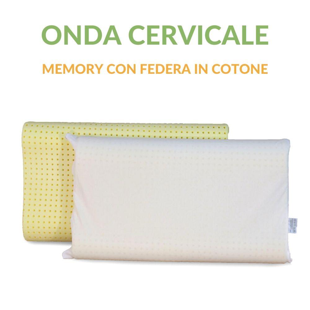 Coppia Cuscini Memory Cervicale con Federa in Cotone
