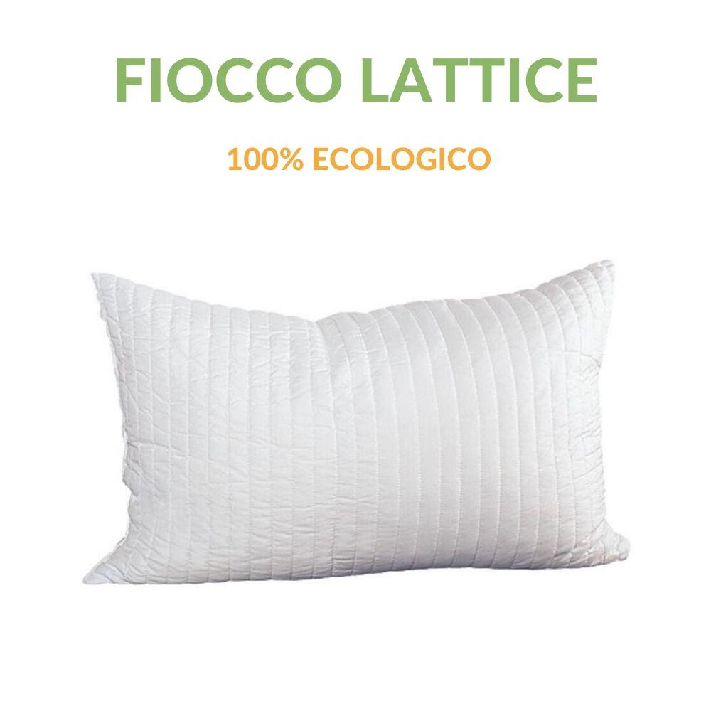 Cuscino in Lattice 100% Fiocchi effetto Piuma d'oca Anallergico Traspirante alti 12 cm 42x72