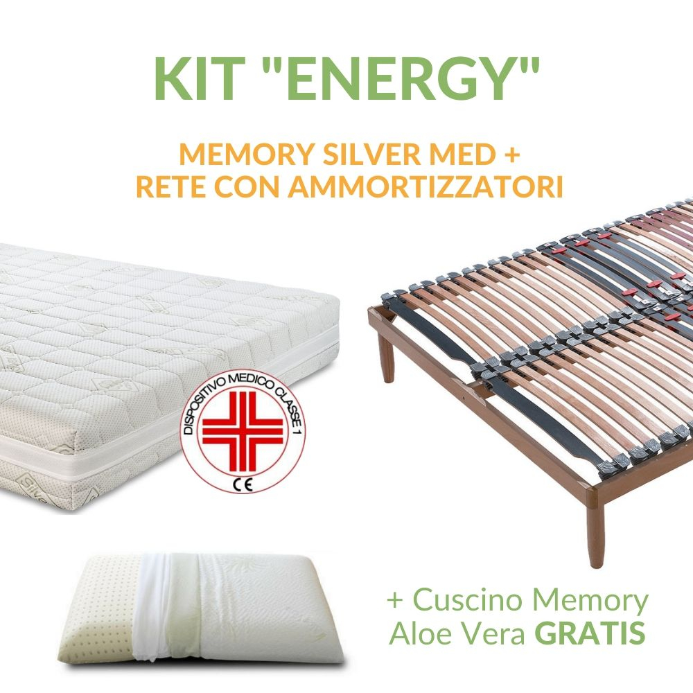 Kit Materasso Memory Silver Memory Med + Rete a Doghe + Cuscino Memory