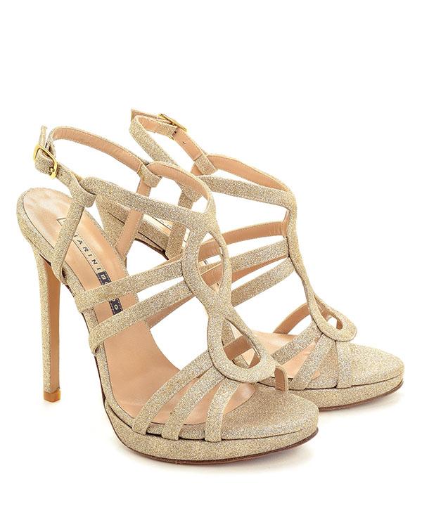 Sandali con tacco glitter platino - CHIARINI BOLOGNA