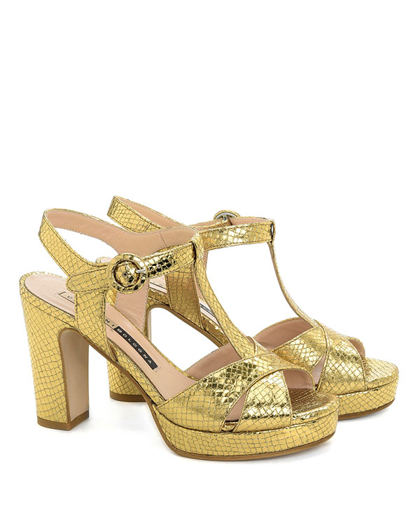Sandali con plateau  pelle stampa pitone dheli mekong  - CHIARINI BOLOGNA