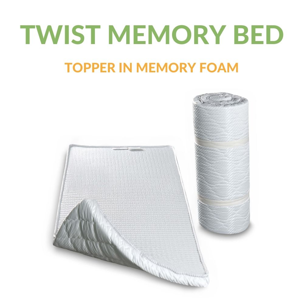 Materassino Topper in Memory Arrotolabile con elastici | Twist Memory Bed