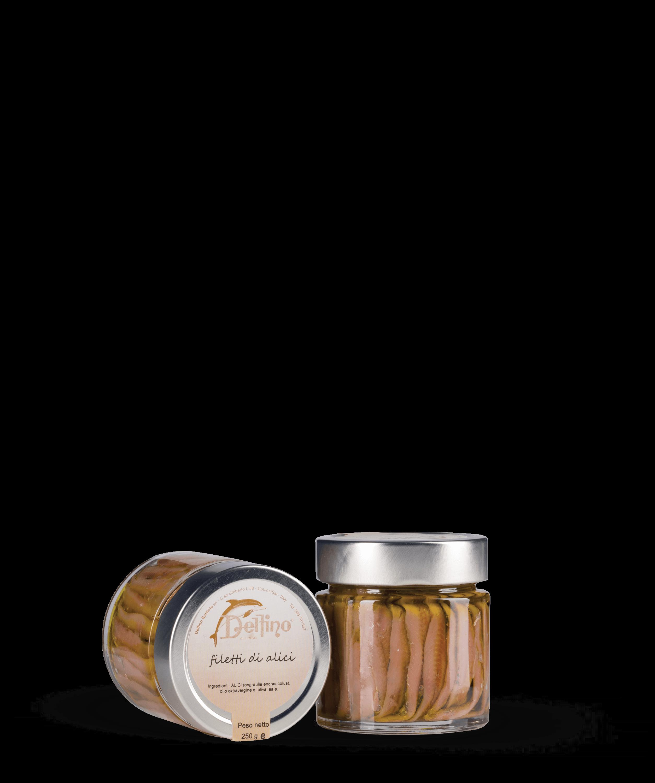 Filetti di alici in olio extravergine L. TOP vaso ml 212