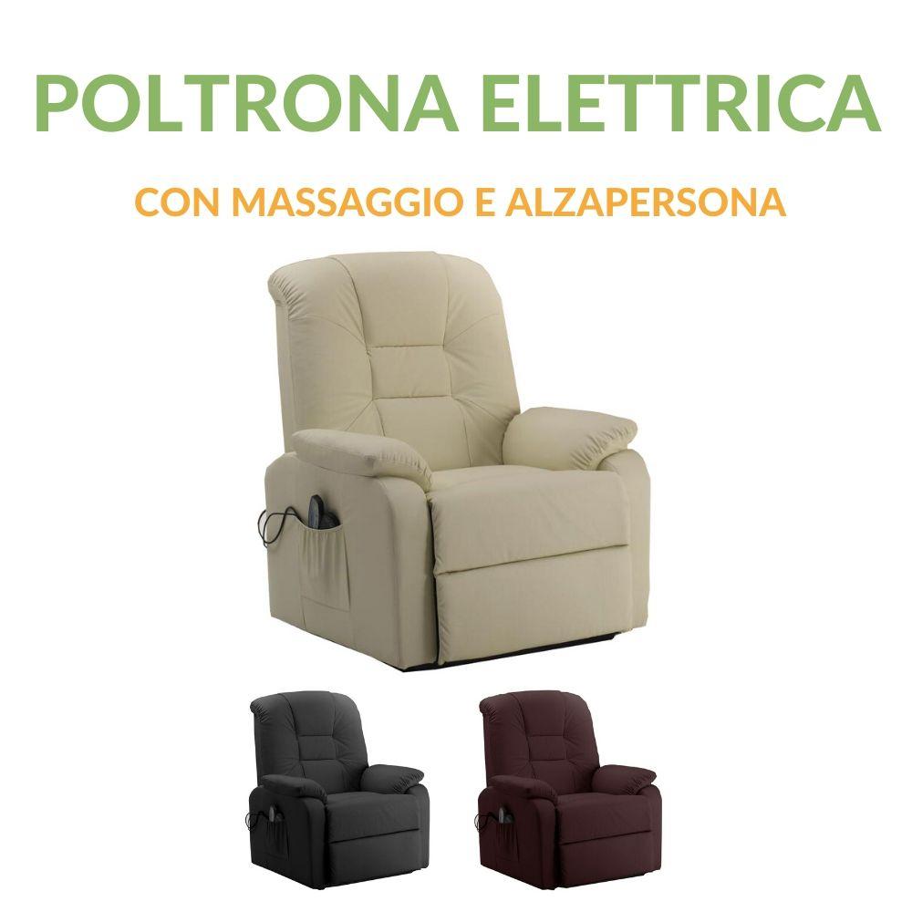 Poltrona Reclinabile Massaggiante.Poltrona Elettrica Relax Con Massaggio E Alzapersona
