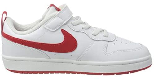 Nike Court Borough Low 2, Scarpe da Basket Bambino BQ5451-103WHITE/UNIVERSITY RED