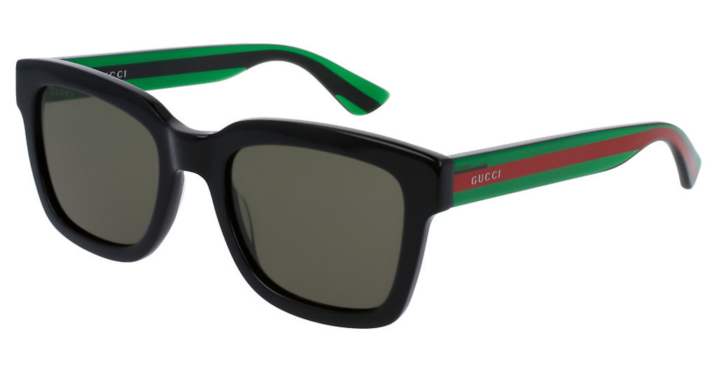 Gucci - Occhiale da Sole Uomo, Black Striped Green/Green Shaded  GG0001S  002  C52
