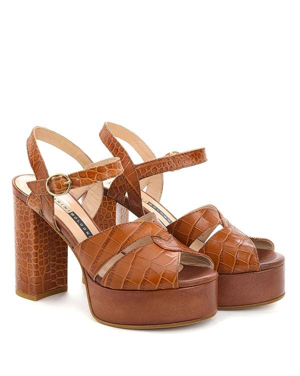 Sandali con plateau stampa cocco color cuoio - CHIARINI BOLOGNA