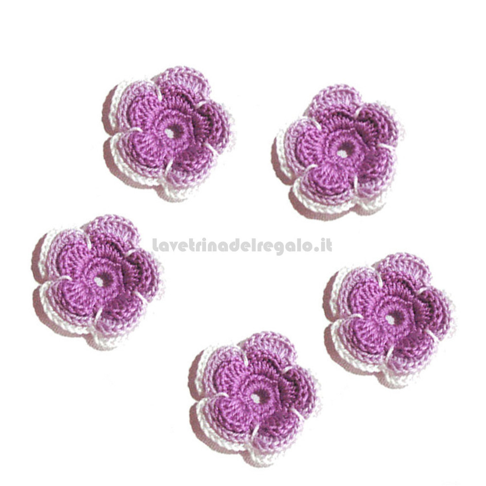 5 pz - Fiore per applicazione lilla ad uncinetto 4 cm - Handmade Italy