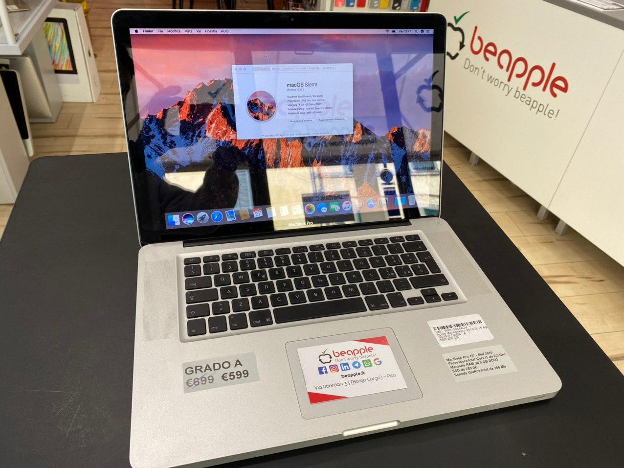 Apple MacBook Pro 15.4″ intel® Dual-Core i5 2.53GHz Mid 2010 (Ricondizionato)