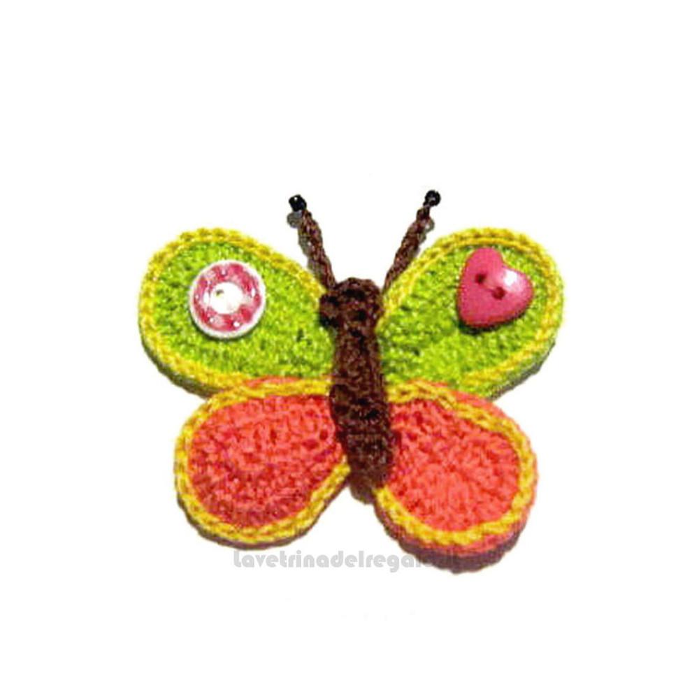 Farfalla arancione e verde ad uncinetto 7x5.5 cm - Handmade in Italy