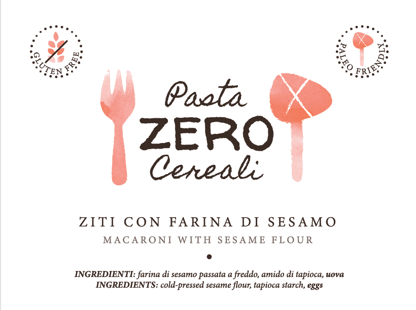 ZeroCereali Rigatoni with Sesame Flour. No Gluten - No Legumes - No Dairy Products