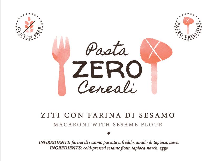 ZeroCereali Rigatoni con harina de sésamo. Sin gluten - Sin legumbres - Sin productos lácteos