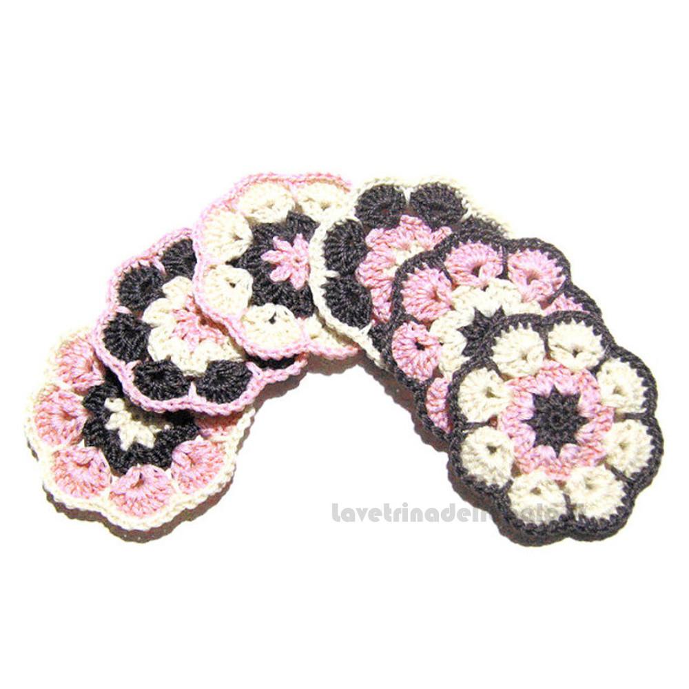 6 pz - Fiore grigio e rosa ad uncinetto 6 cm - Handmade in Italy