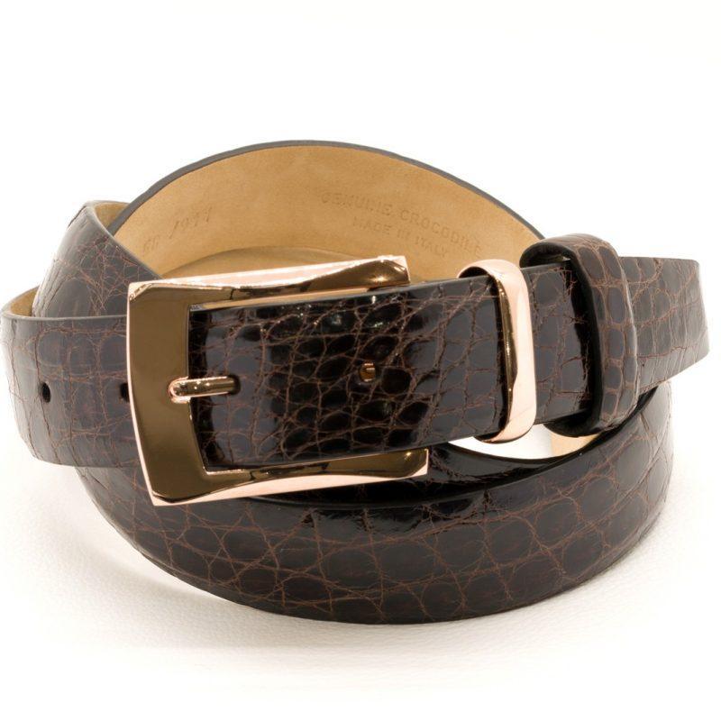 Fibbia d'Oro Rosa 9 ct con Cintura in Coccodrillo Marrone