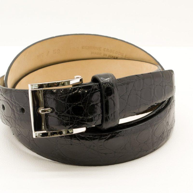 Fibbia In Oro Bianco 18 ct con Cintura in Coccodrillo Nera