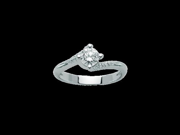Anello Solitario Miluna in Oro Bianco e Diamanti