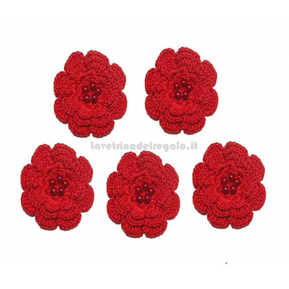 Set 5 pz - Fiore per applicazioni rosso ad uncinetto 5,5 cm Handmade - Italy