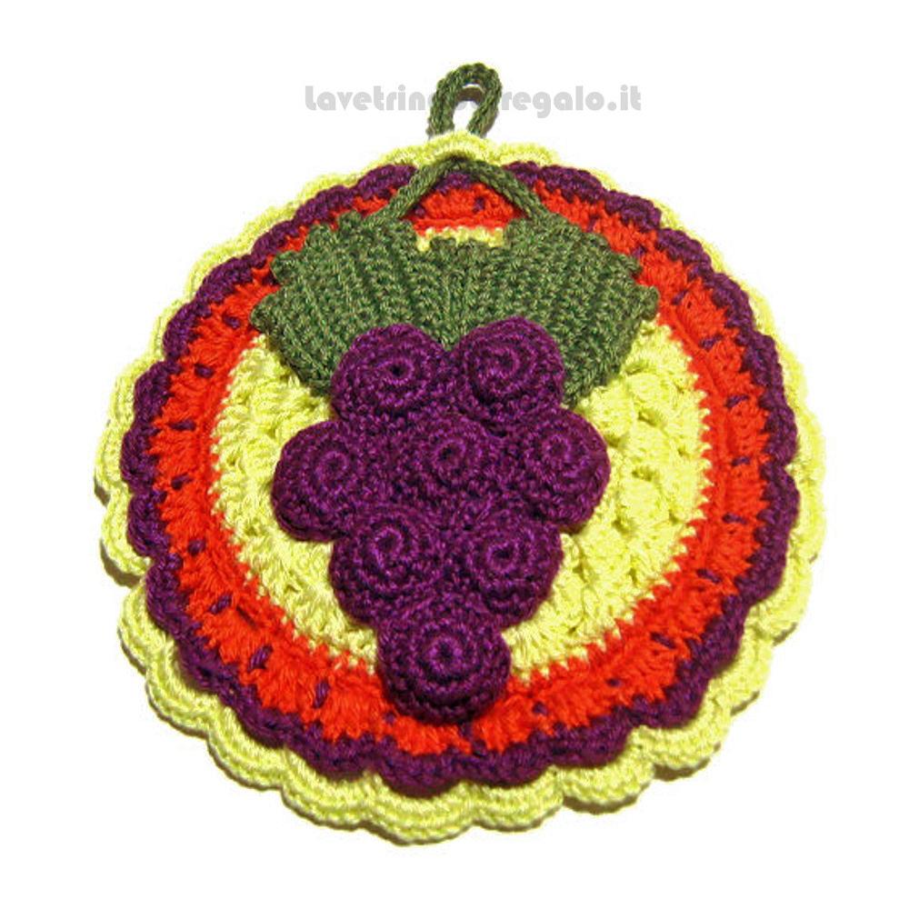 Presina grappolo d'uva ad uncinetto ø 17 cm Handmade - Italy
