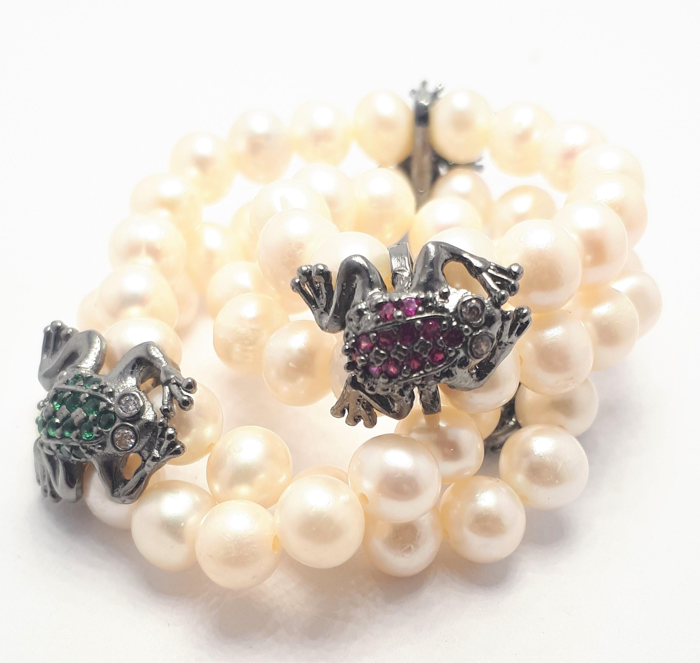 Bracciale con Perle e animali in Argento 925 Brunito con Pietre Multicolor - Giampiero Fiorini