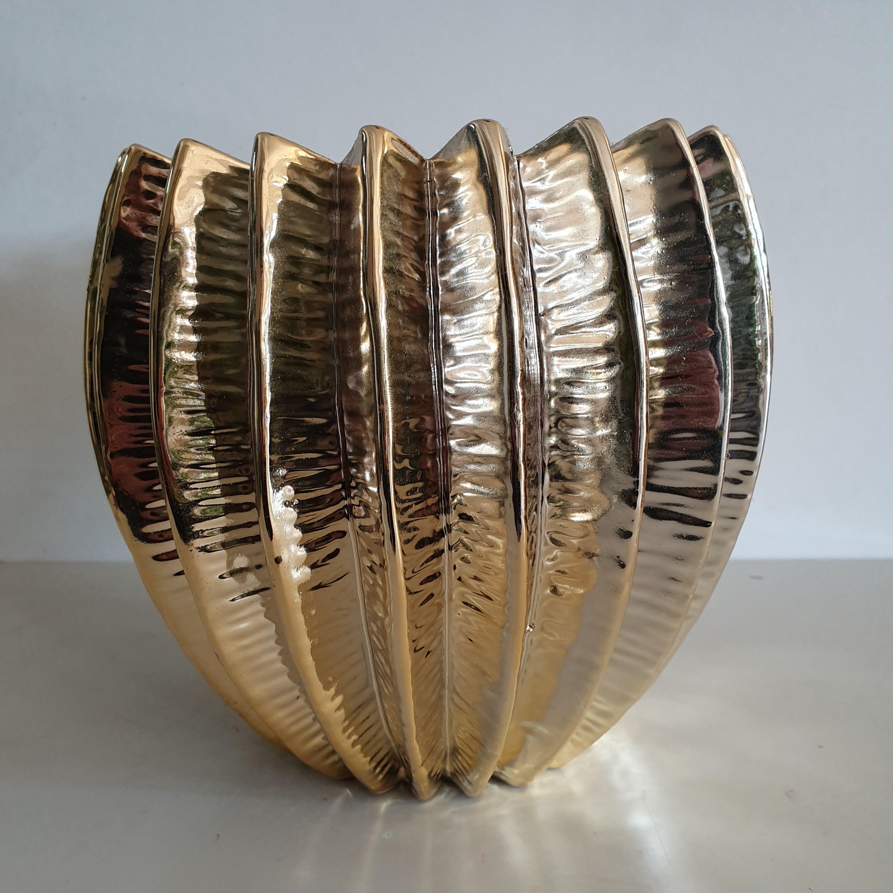 Vaso ceramica oro medio