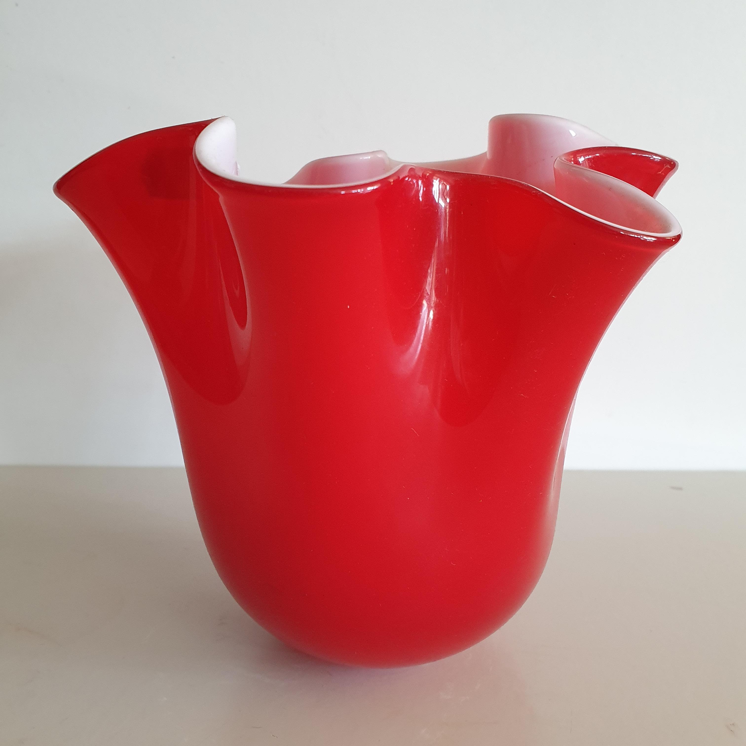 Vaso vetro Edg fazzoletto rosso medio