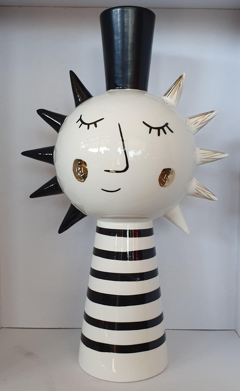 Vaso ceramica Edg stilizzato righe medio