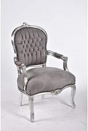 Poltrona barocco argento grigio stile Luigi XV