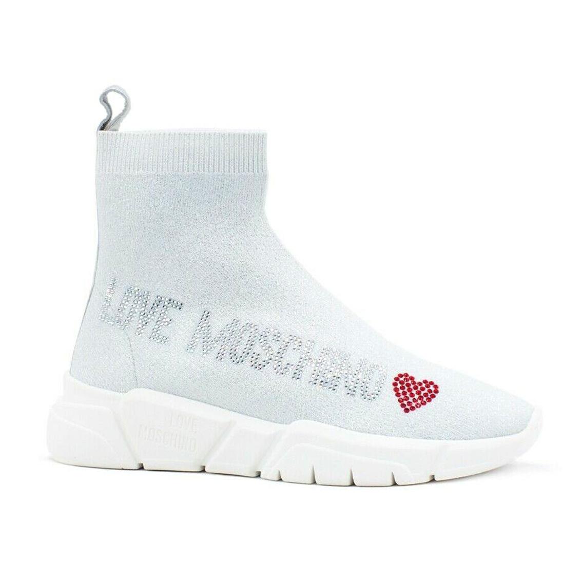 Sneaker a calzino bianca Love Moschino