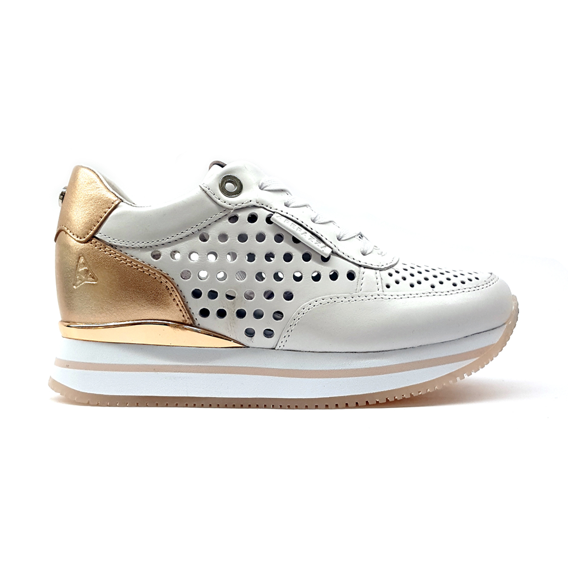 Sneaker oro rosa con fondo platform Apepazza