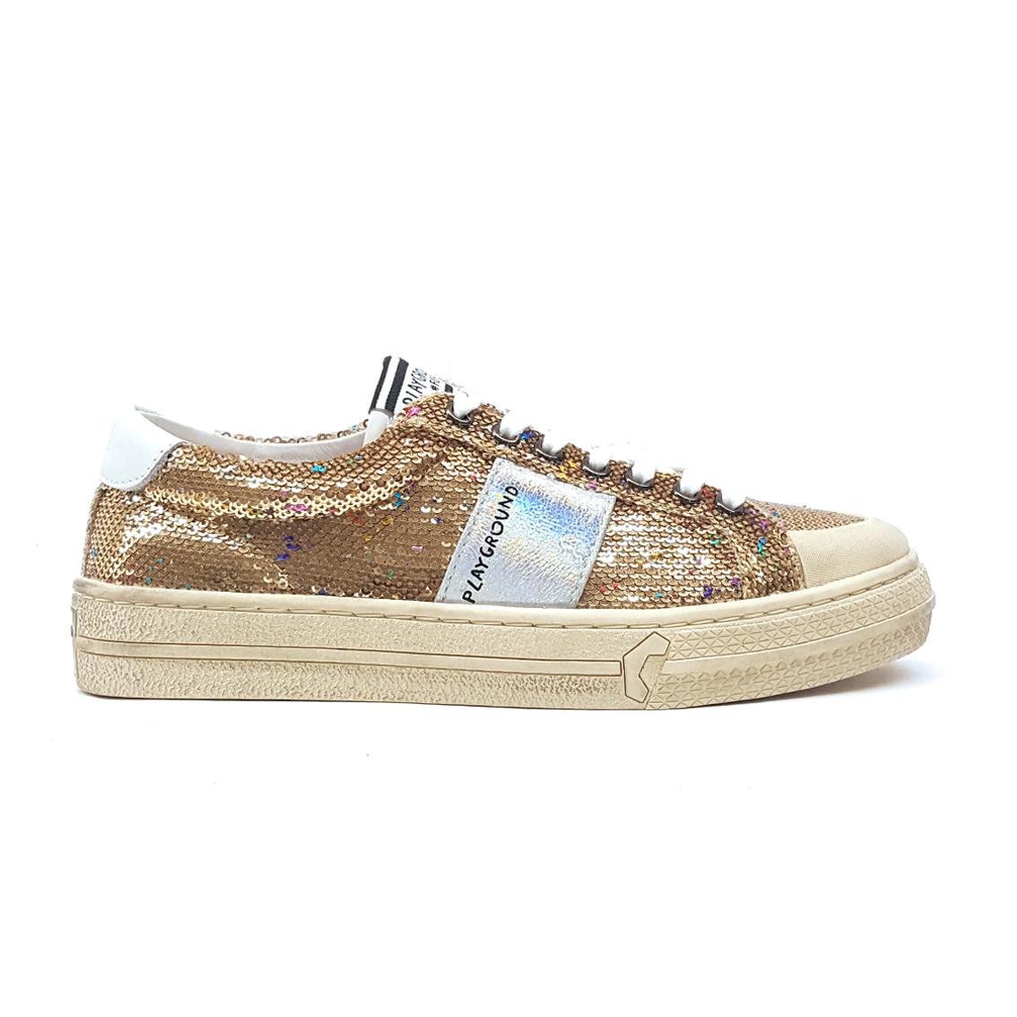 Sneaker oro con pailletes Playground